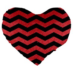 Chevron3 Black Marble & Red Colored Pencil Large 19  Premium Flano Heart Shape Cushions by trendistuff