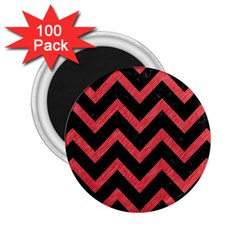 Chevron9 Black Marble & Red Colored Pencil (r) 2 25  Magnets (100 Pack)  by trendistuff