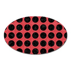 Circles1 Black Marble & Red Colored Pencil Oval Magnet by trendistuff