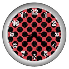 Circles2 Black Marble & Red Colored Pencil Wall Clocks (silver)  by trendistuff