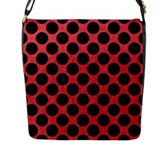 Circles2 Black Marble & Red Colored Pencil Flap Messenger Bag (l)  by trendistuff