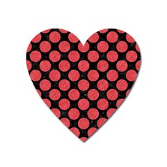 Circles2 Black Marble & Red Colored Pencil (r) Heart Magnet by trendistuff