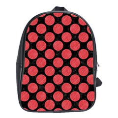Circles2 Black Marble & Red Colored Pencil (r) School Bag (large) by trendistuff