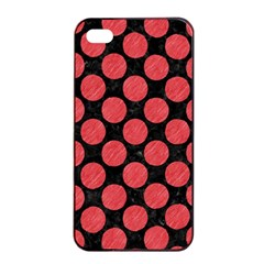 Circles2 Black Marble & Red Colored Pencil (r) Apple Iphone 4/4s Seamless Case (black) by trendistuff