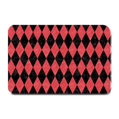 Diamond1 Black Marble & Red Colored Pencil Plate Mats by trendistuff
