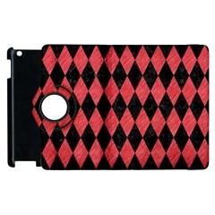 Diamond1 Black Marble & Red Colored Pencil Apple Ipad 2 Flip 360 Case by trendistuff