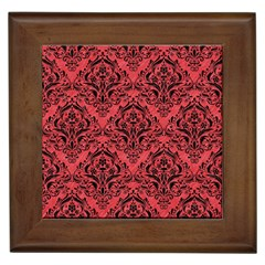 Damask1 Black Marble & Red Colored Pencil Framed Tiles by trendistuff