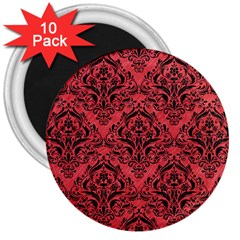 Damask1 Black Marble & Red Colored Pencil 3  Magnets (10 Pack)  by trendistuff