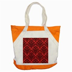 Damask1 Black Marble & Red Colored Pencil Accent Tote Bag by trendistuff