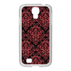 Damask1 Black Marble & Red Colored Pencil (r) Samsung Galaxy S4 I9500/ I9505 Case (white) by trendistuff