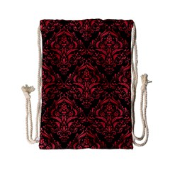 Damask1 Black Marble & Red Colored Pencil (r) Drawstring Bag (small) by trendistuff
