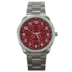 Damask2 Black Marble & Red Colored Pencil Sport Metal Watch by trendistuff