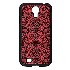 Damask2 Black Marble & Red Colored Pencil Samsung Galaxy S4 I9500/ I9505 Case (black) by trendistuff