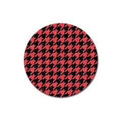 Houndstooth1 Black Marble & Red Colored Pencil Magnet 3  (round) by trendistuff
