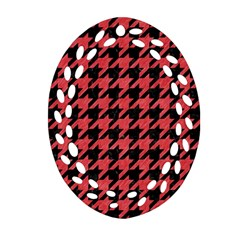 Houndstooth1 Black Marble & Red Colored Pencil Ornament (oval Filigree) by trendistuff