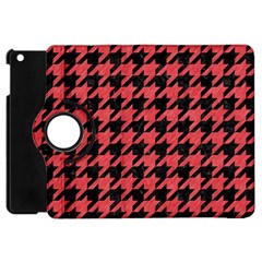 Houndstooth1 Black Marble & Red Colored Pencil Apple Ipad Mini Flip 360 Case by trendistuff