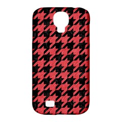 Houndstooth1 Black Marble & Red Colored Pencil Samsung Galaxy S4 Classic Hardshell Case (pc+silicone) by trendistuff