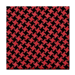 Houndstooth2 Black Marble & Red Colored Pencil Face Towel by trendistuff