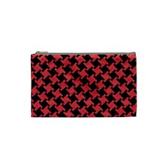 Houndstooth2 Black Marble & Red Colored Pencil Cosmetic Bag (small)  by trendistuff