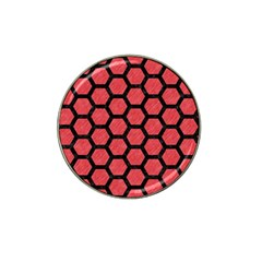 Hexagon2 Black Marble & Red Colored Pencil Hat Clip Ball Marker by trendistuff