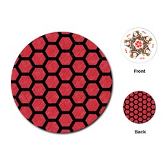 Hexagon2 Black Marble & Red Colored Pencil Playing Cards (round)  by trendistuff