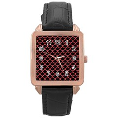 Scales1 Black Marble & Red Colored Pencil (r) Rose Gold Leather Watch  by trendistuff