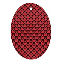 Scales2 Black Marble & Red Colored Pencil Ornament (oval) by trendistuff