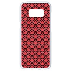 Scales2 Black Marble & Red Colored Pencil Samsung Galaxy S8 White Seamless Case by trendistuff