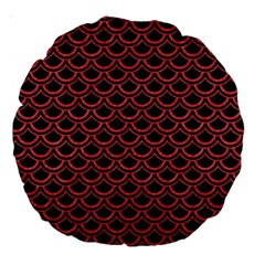 Scales2 Black Marble & Red Colored Pencil (r) Large 18  Premium Round Cushions by trendistuff