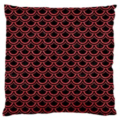 Scales2 Black Marble & Red Colored Pencil (r) Large Flano Cushion Case (one Side) by trendistuff