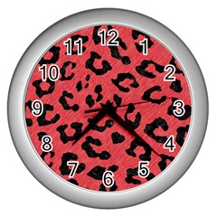 Skin5 Black Marble & Red Colored Pencil (r) Wall Clocks (silver)  by trendistuff
