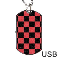 Square1 Black Marble & Red Colored Pencil Dog Tag Usb Flash (one Side) by trendistuff