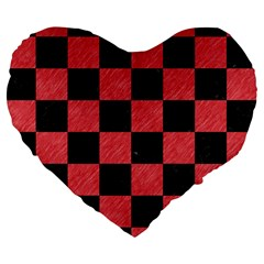 Square1 Black Marble & Red Colored Pencil Large 19  Premium Flano Heart Shape Cushions by trendistuff
