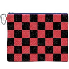Square1 Black Marble & Red Colored Pencil Canvas Cosmetic Bag (xxxl) by trendistuff