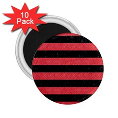 Stripes2 Black Marble & Red Colored Pencil 2 25  Magnets (10 Pack)  by trendistuff
