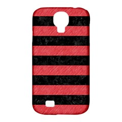 Stripes2 Black Marble & Red Colored Pencil Samsung Galaxy S4 Classic Hardshell Case (pc+silicone) by trendistuff