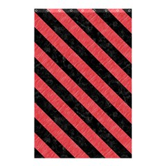 Stripes3 Black Marble & Red Colored Pencil Shower Curtain 48  X 72  (small)  by trendistuff