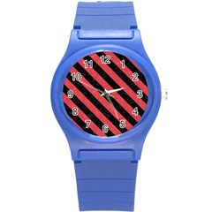 Stripes3 Black Marble & Red Colored Pencil Round Plastic Sport Watch (s) by trendistuff
