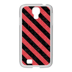 Stripes3 Black Marble & Red Colored Pencil Samsung Galaxy S4 I9500/ I9505 Case (white) by trendistuff