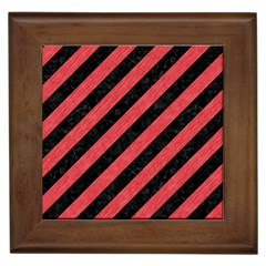 Stripes3 Black Marble & Red Colored Pencil (r) Framed Tiles by trendistuff