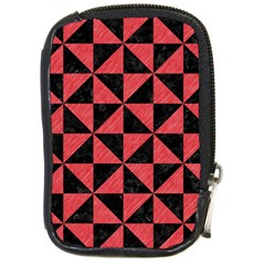 Triangle1 Black Marble & Red Colored Pencil Compact Camera Cases by trendistuff