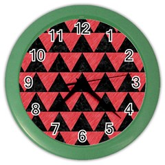 Triangle2 Black Marble & Red Colored Pencil Color Wall Clocks by trendistuff