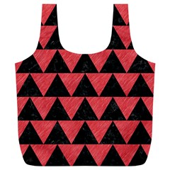 Triangle2 Black Marble & Red Colored Pencil Full Print Recycle Bags (l)  by trendistuff
