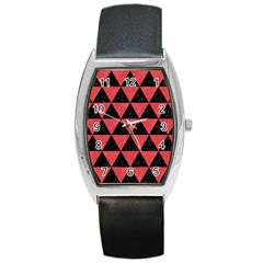 Triangle3 Black Marble & Red Colored Pencil Barrel Style Metal Watch by trendistuff