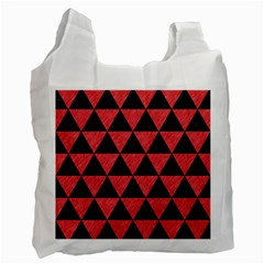 Triangle3 Black Marble & Red Colored Pencil Recycle Bag (one Side) by trendistuff
