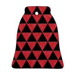 Triangle3 Black Marble & Red Colored Pencil Bell Ornament (two Sides) by trendistuff