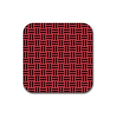 Woven1 Black Marble & Red Colored Pencil Rubber Square Coaster (4 Pack)  by trendistuff
