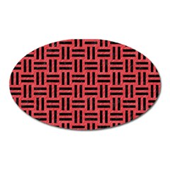 Woven1 Black Marble & Red Colored Pencil Oval Magnet by trendistuff