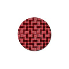 Woven1 Black Marble & Red Colored Pencil Golf Ball Marker by trendistuff