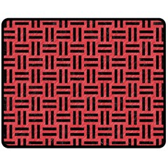 Woven1 Black Marble & Red Colored Pencil Double Sided Fleece Blanket (medium)  by trendistuff